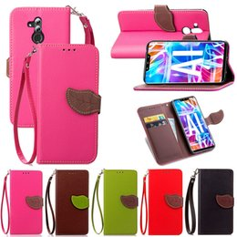 Banking Case Australia - Leaf Shape Flip Cell Phone Soft PU Leather Wallet Case for Huawei Mate20 Lite Cover with Bank Card Holder Strong Hand Strap