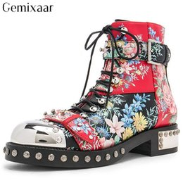 Pattern Decor Australia - Retro Cow Leather Print Flowers Decor Rivet Women Shoes Round Toe Ankle Buckle Botas Fashion Cross-tied Flower Pattern Botas