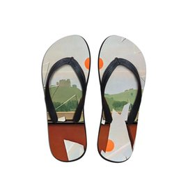 Discount home wear slippers - Daily Wear Customizable Men Summer Flip Flops Beach Anti-slip Sandals Casual Anti-Slip Shoes Paddy Painting Print Home S