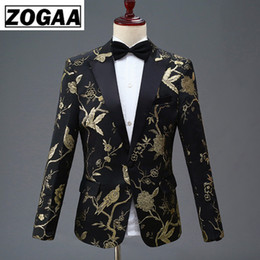 $enCountryForm.capitalKeyWord NZ - ZOGAA New Design Mens Stylish Embroidery Royal Blue Green Red Floral Pattern Suits Stage Singer Wedding Groom Tuxedo Costume