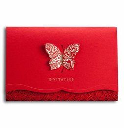 50pcs Classic Chinese Red Wedding Invitations Elegant Butterfly 3D Cards Printable Birthday Card Party Favors With Envelopes