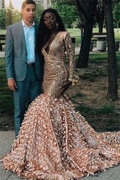 One shOulder evening dress print online shopping - Glamorous Applique V Neck Mermaid Prom Dresses Long Sleeves Prom Gown plus size special occasion Evening Dresses Guest Dress Abendkleid