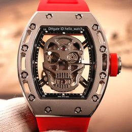 Discount mechanical skull watches New RM052 Skeleton Diamond Skull Head Dial Miyota Automatic Mens Watch Steel Case 052 Red Rubber Strap High Quality Watc