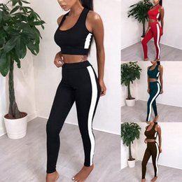 plus size yoga pants wholesale UK - Sexy Sleeveless Seamless Yoga Set Women Tracksuit Gym Leggings Sports Bra Push Up Workout Sports Suits Fitness Clothing