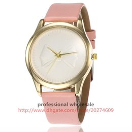 Wholesale Products For Girls Australia - Promote product watch simply style watch for ladies girls fashion tulle bowknot dial no logo leather watches