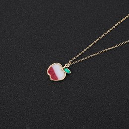 Silver Red Apple Pendant Australia - 10pcs Cartoon Enamel Colorful Fruit Apple Necklace Flying Balloon with Hearts Necklace Red Color Cherry Chain Necklaces for Women