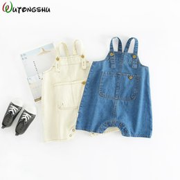 Chinese  2019 Baby Pants Summer Newborn Girls Boy Overalls Toddler Pants Baby Suspender Trousers Solid Blue white Jeans Leggings For Kids Y190529 manufacturers