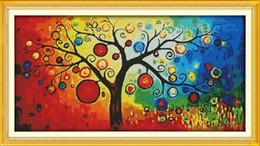 $enCountryForm.capitalKeyWord Australia - The Money Tree Scenery colorful home decor painting ,Handmade Cross Stitch Embroidery Needlework sets counted print on canvas DMC 14CT  11CT
