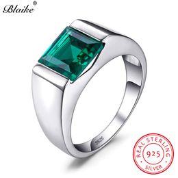 $enCountryForm.capitalKeyWord Australia - Blaike 100% Real 925 Sterling Silver Rings For Men Women Square Green Emerald Blue Sapphire Birthstone Wedding Ring Fine Jewelry