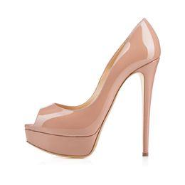 $enCountryForm.capitalKeyWord UK - Real Photo Women Solid Color Pink Black Peep Toe Platform Sandals Summer Fashion 16cm High Heel Slip On Dress Pumps Cover Heel