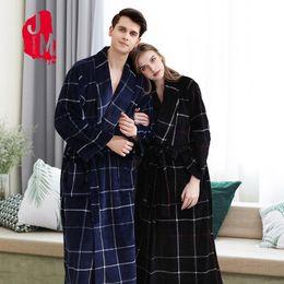 $enCountryForm.capitalKeyWord Australia - Winter Flannel Couple Robes Mid-Calf Warm Bathrobe Women Plaid Big Pocket Thick Thick Bath Robe Dressing Gown For Lovers XXXL