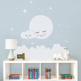 Kids Clouds Wall Stickers Australia - Moon Stars Wall Decal Cloud Nursery Wall Stickers For Kids Room Decal Nursery Wall Sticker Girls Decorative Vinyl Babies T180838 Q190416