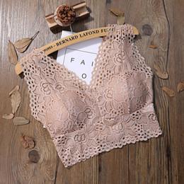 Discount lace bralette - Women Flower Lace Bra Elegant Lady Vest Crop Top Sexy Lace Floral Cami Bralette Crochet Tank Top