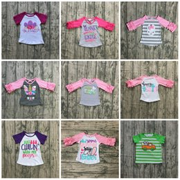 Floral Print Shirts Baby Australia - new arrival happy Easter baby girls print bunny pink egg cotton boutique top T-shirt raglan clothing floral ruffles kids wear