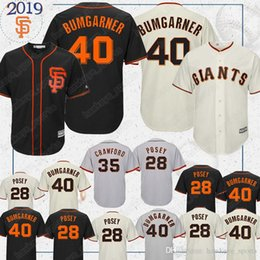 crawford jerseys UK - San Francisco jerseys Giants 40 Madison Bumgarner 35 Brandon Crawford 28 baseball jerseys 2019 black shirt