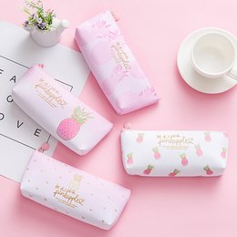 wholesale round cosmetic bag Australia - 2018 New Arrival Storage Bag Girls Pink Pineapple Pencil Case Cosmetic Bag Makeup Pouch Pencils Box Makeup Storage Handbags