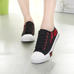 $enCountryForm.capitalKeyWord Australia - Red Lips Zipper Canvas Womens Shoes Flats 2019 Girls Lace Up Brand Flat Shoe Womens Comfortable Walking Sneakers Zapatillas plataforma