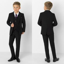 groomsmen tuxedos navy color UK - Black Boy Formal Suits Wedding Dinner Tuxedos Little Boy Groomsmen Kids Children For Wedding Party Prom Suit Formal Wear (Jacket+Pants+Vest)