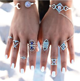 boho rings NZ - New 8pcs Set Vintage Punk Ring Set Hollow Antique Silver Plated Lucky midi Rings Women Boho Beach Jewelry Natural Stone