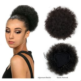 curly hair buns NZ - 8Inch AFRICAN Clip In Chignon Hair Bun Piece High Temperature Fiber Ombre Curly Synthetic Afro Drawstring Ponytail Extensions