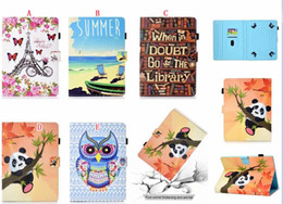 universal bikes NZ - Universal For 7 8 10 inch Tablet Samsung Galaxy Tab iPad Tablet PC Cartoon Leather Wallet Case Bling Sea Bike Panda BookSelf Owl Cards Cover