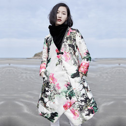 cities paintings 2019 - Stylist original city of new style ink painting designs loose long down coat 2018 women's winter oversize outerwear