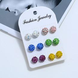 Multicolor disco ball online shopping - Diamond Ball Earrings Sparkle Czech Crystal Disco Ball Silver Stud Earrings Women Multicolor Shiny Fashion Earrings LJJW47