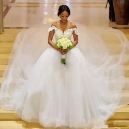 $enCountryForm.capitalKeyWord NZ - Simple Plus Size Tulle Princess Wedding Dresses 2019 Hot Sale Lace Off Shoulder Zipper Back Bridal Wedding Gowns