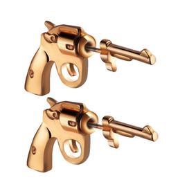 Ear Gun Studs Australia - 1pair Punk Gold Gun Shaped Weapon Stud Earrings Pistol Ear Piercing Party Jewelry Women Men Hip Hop Earrings