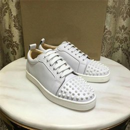Wholesale sparkling pink shoes resale online - Brand new designer luxury leather nails sparkling crystal low shoes unisex casual shoes men women shoes large size EUR35 D09