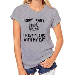 Tee squares online shopping - New Women Tshirt Sorry I Can t I Have Plans With My Cat Print Grey T Shirt O neck Short Sleeve Tops Tee Casual Letter