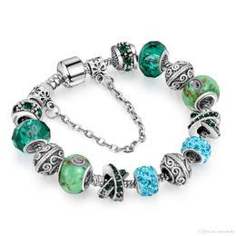 $enCountryForm.capitalKeyWord Australia - DIY Crystal Beads Bracelets Bangles Silver Plated Charm Bracelets for Women Original DIY Jewelry Gift AA162