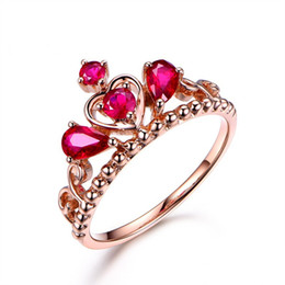 Rose Style Rings Australia - R405 luxury Rings red jewelry female New Style rose gold imperial crown Rings For Women crystal alternatetion heart