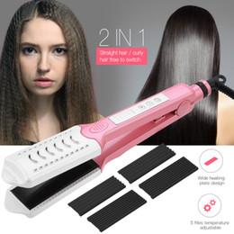 electric hair straightening Australia - 3 in 1 Electric Hair Curler Straightener Ceramic Corrugated Flat Iron Curl Hair Crimper Plate Corn Corrugated Iron Straightening