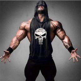 $enCountryForm.capitalKeyWord Australia - Hot Men's Hooded Tank Tops summer casual fashion skull Print sports vests man slim breathable tees sleeveless jogging GYM fitness t shirt