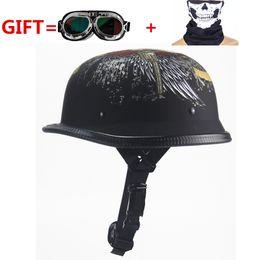 $enCountryForm.capitalKeyWord Australia - NEW!German Motorcycle WWII Style Half Helmet Chopper Biker Pilot Goggles Open Face Moto Motocicleta with free goggle and mask