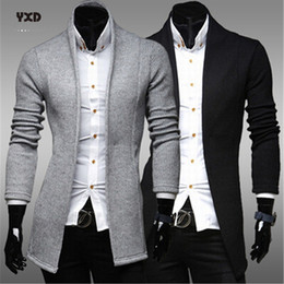 men shawl sweaters NZ - Men's Clothing Casual Man Long Cardigan Sweater Mens Slim Cardigans Knitted Sweaters Striped Mans clothes Men Shawl Collar Tops