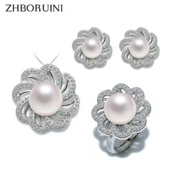 $enCountryForm.capitalKeyWord NZ - Zhboruini Fashion Pearl Jewelry Set Natural Freshwater Pearl Flower Necklace Earrings Ring 925 Sterling Silver Jewelry For Women J190629