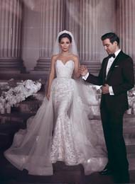 Size 16 Silver dreSS online shopping - Luxury Dubai Arabic Mermaid Wedding Dresses Sweetheart Lace Applique Detachable Train Wedding Dress Bridal Gowns robe de mariée