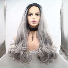 Discount grey woman wig - Fashion cheap new arrival unprocessed remy virgin human hair long grey natural wave full lace cap wig for women
