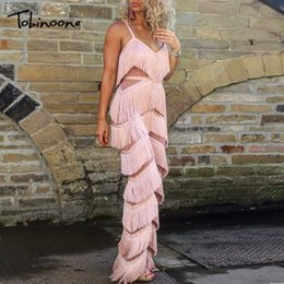 Plus Size V Neck Jumpsuit Australia - Tobinoone New Autumn Tassel Bodycon Long Sexy Women Jumpsuit 2018 Elegant Backless V Neck Rompers Womens Plus Size Jumpsuits