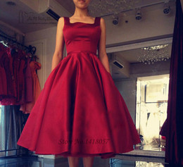 $enCountryForm.capitalKeyWord Canada - Short Burgundy Prom Dresses Tea Length Elegant Evening Party Dress Gowns Backless Satin Bow Vestido de Festa Formal Occasion