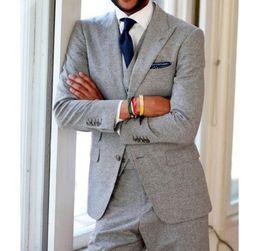 Coats Light Grey NZ - XLY 2019 Latest Coat Pants Light Grey Tweed Men's Suit Slim Fit Groom Tuxedo Skinny 3 Piece Wedding Suits Casual Style Blazer Masculino