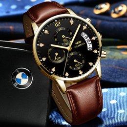Mens Military Wrist Watches Australia - Mens Watches Top Brand Luxury Quartz Black Gold Watch Men Casual Leather Military Waterproof Sport Wrist Watch Relogio Masculino