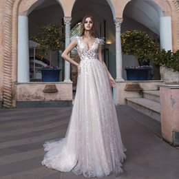 Chart Decorations Australia - 2019 Spring Wedding Gowns A Line V Neck Backless Lace Vestido De Noiva Fashion Feathers Decoration Garden Beach Bridal Gowns