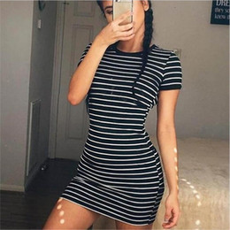 aa81936405b Euro-American Cross-Border new Short Sleeve Stripe Dresses Spring and Summer  2019 eBay Women s Fast Selling Full-blown Amazon Foreign Trade