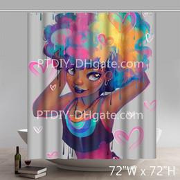Personnalisé Liberty Art Peyton Noir Fille Africain Queens Américain Femmes Beauté Magique Imperméable À L'eau Rideau De Douche en Solde