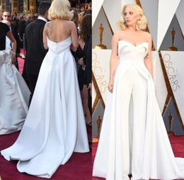 $enCountryForm.capitalKeyWord Australia - White Pants Jumpsuit Oscar Lady Gaga Red Carpet Dresses Maxwell Fashion Satin Unique Outfits Evening Gowns Celebrity Dresses