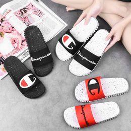 $enCountryForm.capitalKeyWord UK - Champion Letter Print Designer Slippers Unisex Slides Slip On Sandals Brand Mules Flip Flops Men Women Flat Sandal Beach Bath Shoes A72501