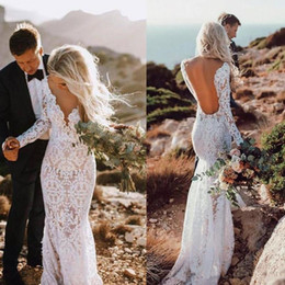 72016946edc Country Lace Wedding Dresses Sexy Mermaid Bridal Dresses Long Sleeves Floor  Length Backless Beach Boho Bridal Gowns